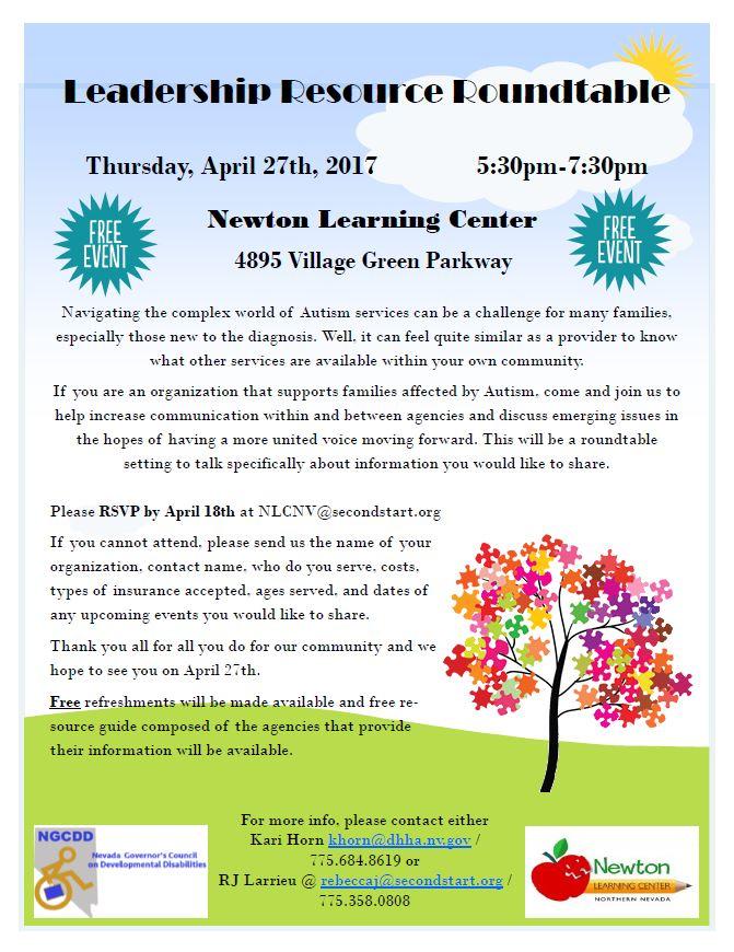 Leadership Resource Roundtable @ Newton Learning Center  | Reno | Nevada | United States